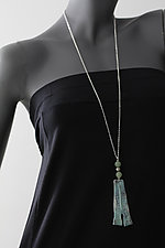 Blue Patina Large Trapezoid with Beads by John Siever (Silver & Bead Necklace)