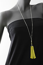 Yellow Patina Large Trapezoid with African Beads by John Siever (Silver & Bead Necklace)