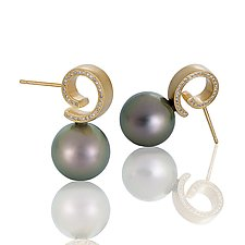 Timeless Pearl Post Earrings with Side Diamonds by Martha Seely (Pearl, Stone and Gold Earrings)
