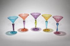 Multicolor Martini Glass by Gina Lunn (Art Glass Drinkware)