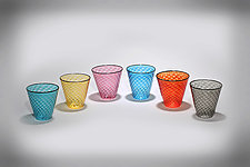 Multicolored Faceted Rocks Glass with Black Rim II by Gina Lunn (Art Glass Tumblers)