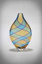 Multicolor Cane Vessel in Amber by Gina Lunn (Art Glass Vessel)