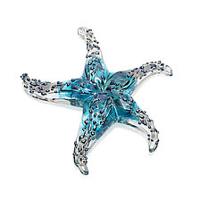Turquoise Starfish Sculptural Paperweight by Gina Lunn (Art Glass Paperweight)