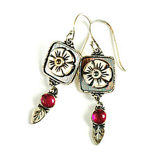 Flower Box Earrings by Vickie  Hallmark (Silver & Stone Earrings)