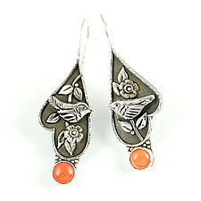 Coral Wren Earrings by Vickie  Hallmark (Silver & Stone Earrings)
