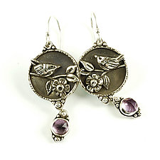 Amethyst Moon Earrings by Vickie  Hallmark (Silver & Stone Earrings)
