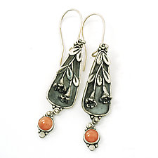 Coral Trumpet Vine Earrings by Vickie  Hallmark (Silver & Stone Earrings)