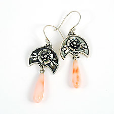 Coral Moonflower Earrings by Vickie  Hallmark (Silver & Stone Earrings)
