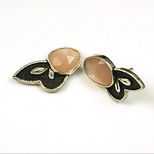 Moon Leaf Studs by Vickie  Hallmark (Silver & Stone Earrings)