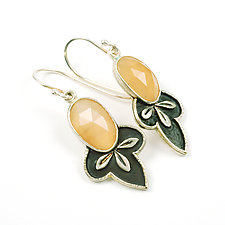 Moon Leaf Dangles by Vickie  Hallmark (Silver & Stone Earrings)