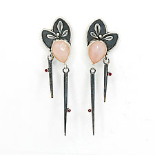 Pink Quartz Sticks and Stones Earrings by Vickie  Hallmark (Silver & Stone Earrings)