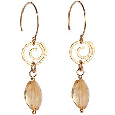 Sophie Gold Spiral and Citrine Earrings by Tracy Arrington (Gold & Stone Earrings)