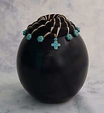 Horse Hair Vessel with Turquoise by Valerie Seaberg (Ceramic Vessel)