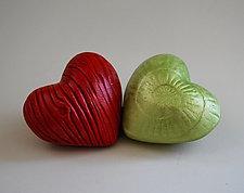 Heart in Hand Rattles VI by Valerie Seaberg (Ceramic Sculpture)