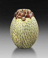 Horsehair Vessel with Indian Head Coin I by Valerie Seaberg (Ceramic Vessel)