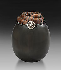 Saddle Concho Horsehair Vessel by Valerie Seaberg (Ceramic Vessel)