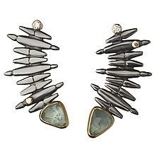 Grand Staircase Earrings by Alison Antelman (Gold, Silver & Stone Earrings)