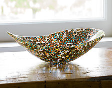 Nido 3 Orange and Turquoise Bowl by Joseph Enszo (Art Glass Bowl)