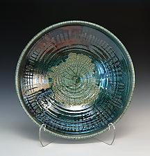 Deep Ocean Raku Bowl by Tom Neugebauer (Ceramic Bowl)