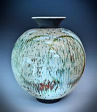 Green Rain Double Circle Raku Vase by Tom Neugebauer (Ceramic Vase)