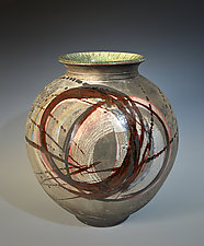 Red Circle Halo Vase by Tom Neugebauer (Ceramic Vase)
