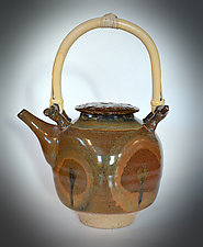 Red Stoneware Teapot with Bamboo Handle by Tom Neugebauer (Ceramic Teapot)