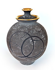 Gold Rim Halo Urn by Tom Neugebauer (Ceramic Urn)