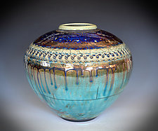 Starry Night Raku Vessel III by Tom Neugebauer (Ceramic Vessel)