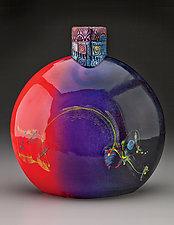 Ruby Violet Bottle by Michael  Kifer (Ceramic Bottle)