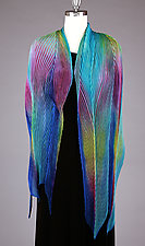 Shibori Shawl in Turquoise and Blues by Min Chiu  and Sharon Wang  (Silk Scarf)