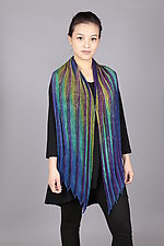 Feather Pleats Shawl in Teals by Min Chiu  and Sharon Wang  (Silk Shawl)