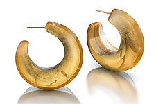 Acrylic & Gold Beveled Hoop Earrings by Jennifer Merchant (Gold & Acrylic Earrings)