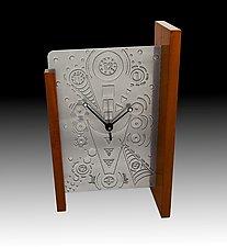 Modern Time Mantle Clock by Evy Rogers (Metal & Wood Clock)