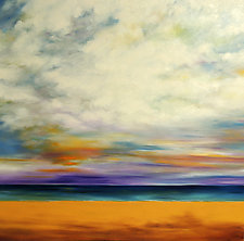 Clouds Over the Beach 2 by Mary Johnston (Oil Painting)