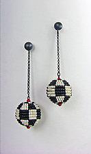 Black and White Mod Earrings by Julie Long Gallegos (Beaded Earrings)