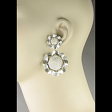 Pearl Camellia Drop Earrings by Julie Long Gallegos (Beaded Earrings)