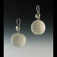 Pearl Bauble Seed Pearl and Silver Earrings by Julie Long Gallegos (Beaded Earrings)