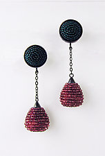 Rose and Teal Kiss Earrings by Julie Long Gallegos (Beaded Earrings)