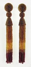 Autumn Red and Gold Tassel Earrings by Julie Long Gallegos (Beaded Earrings)