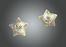 Evening Stars in Silver and White Topaz by Julie Long Gallegos (Silver & Stone Earrings)