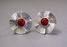 Red Coral Flower Earrings in Brushed Silver by Julie Long Gallegos (Silver & Stone Earrings)