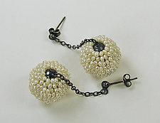 Mod Seed Pearl Drop Earrings by Julie Long Gallegos (Silver & Pearl Earrings)