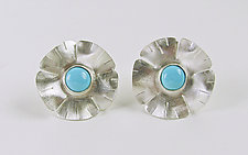 Silver Flowers with Turquoise by Julie Long Gallegos (Silver & Stone Earrings)