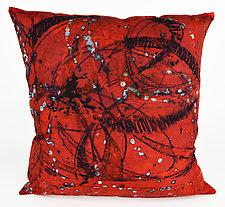 Red Swirl 2 Pillow by Ayn Hanna (Cotton & Linen Pillow)