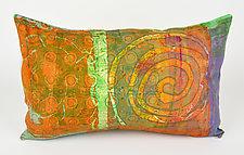 Orange Swirl Pillow by Ayn Hanna (Cotton & Linen Pillow)