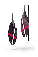 Ebony Ellipse Earrings by Laura Jaklitsch (Silver & Wood Earrings)
