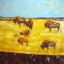 Bison on the Golden Foothills by Janice Sugg (Oil Painting)
