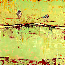 Bird on a Horizon in Green by Janice Sugg (Giclee Print)