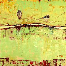 Bird on a Horizon in Green by Janice Sugg (Giclee Print)