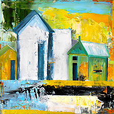 Blue Light, Green Barn by Janice Sugg (Oil Painting)